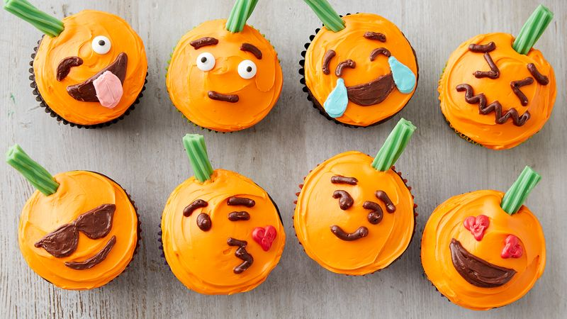 Pumpkin Emoji Cupcakes
