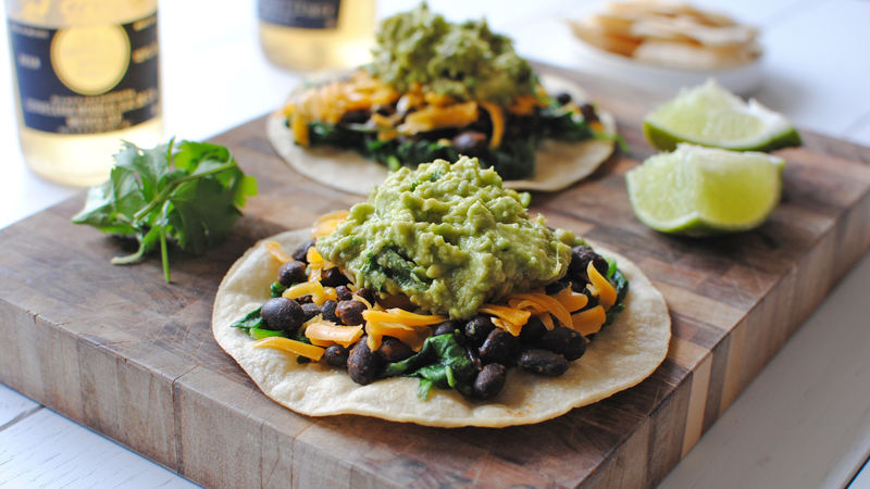 Easy Spinach, Black Bean and Guacamole Tostadas