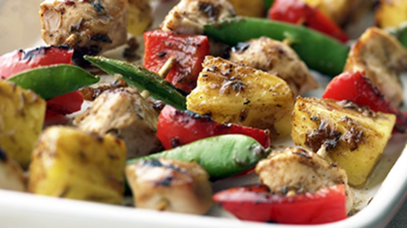 Skinny Apricot Chicken Kabobs