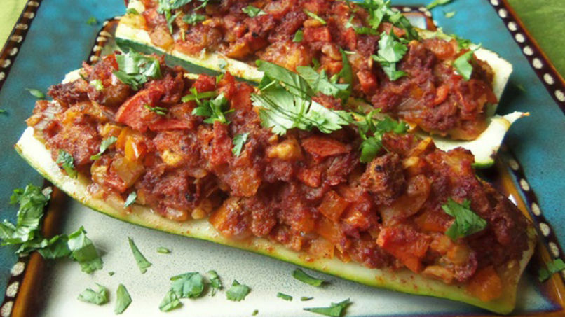 Stuffed Zucchini with Chorizo Dressing