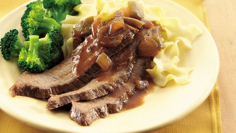 Slow-Cooker Brisket with Chunky Mustard BBQ Sauce
