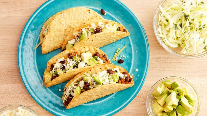 Black Bean Crispy Flour Tacos