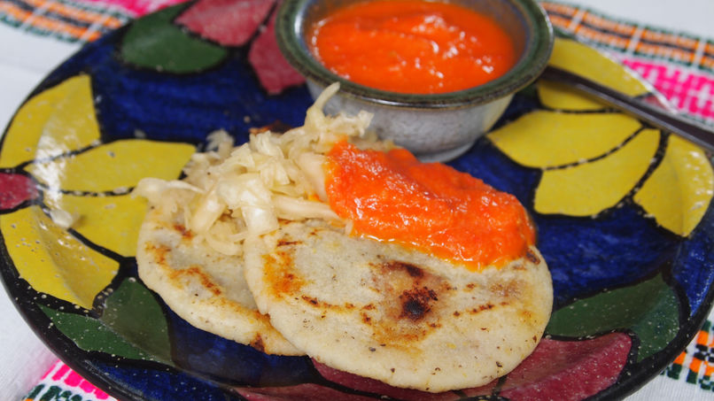 Pupusas Revueltas with Red Sauce