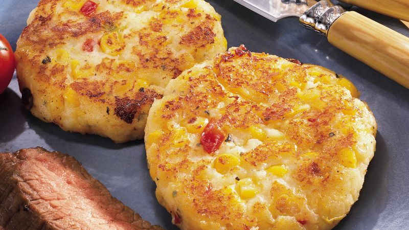 Cheesy Potato Corn Cakes