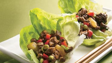 Teriyaki Beef and Pineapple Lettuce Wraps