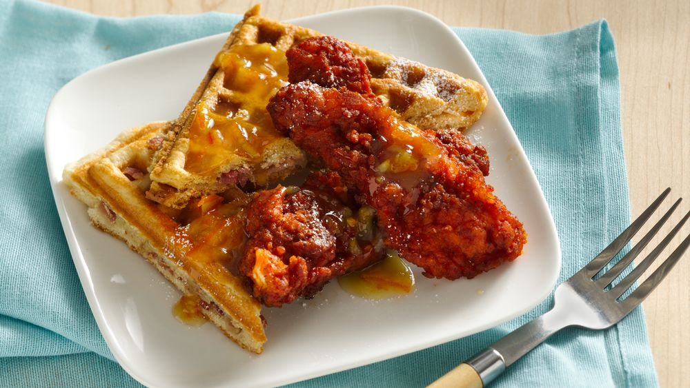 Buffalo Chicken and BBC Waffles