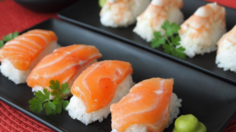 Nigiri Sushi with Prawns and Salmon