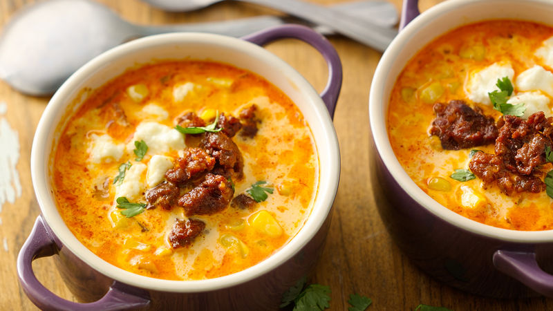 Sweet Corn Soup with Chorizo and Queso Fresco