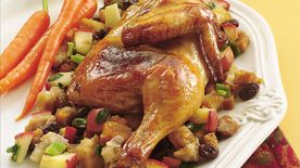 Cornish Hens with Apple-Raisin Stuffing