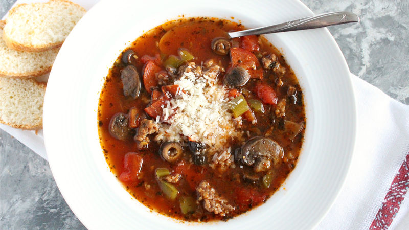 Slow-Cooker Pizza Soup