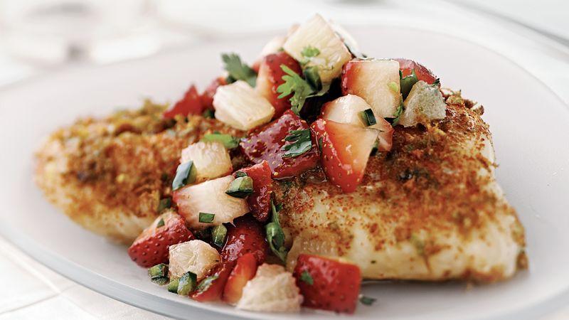 Skinny Fish with Strawberry-Poblano Relish