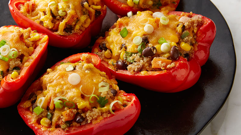 Black Bean, Corn and Quinoa Stuffed Peppers