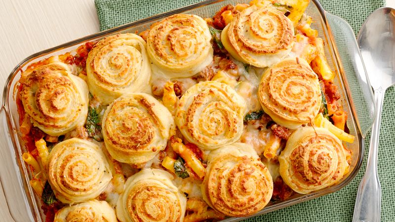 Italian Baked Ziti with Cheesy Crescent Pinwheels