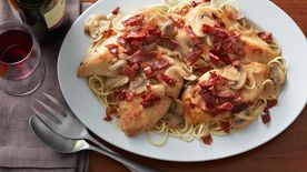 Italian Smothered Chicken with Crispy Prosciutto