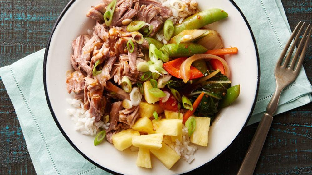 Slow-Cooker Hawaiian Pork Rice Bowls