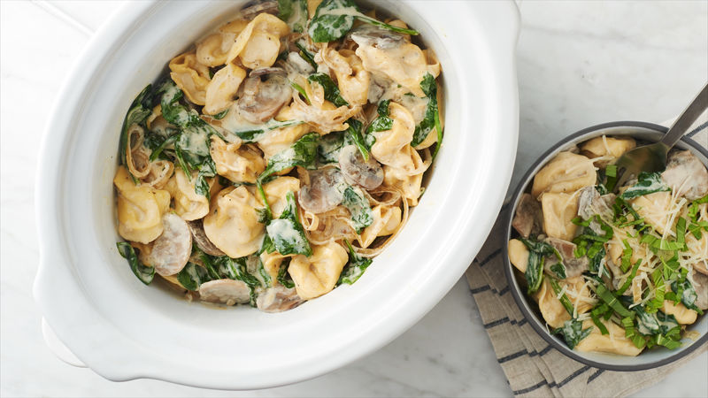 slow cooker spinach mushroom tortellini