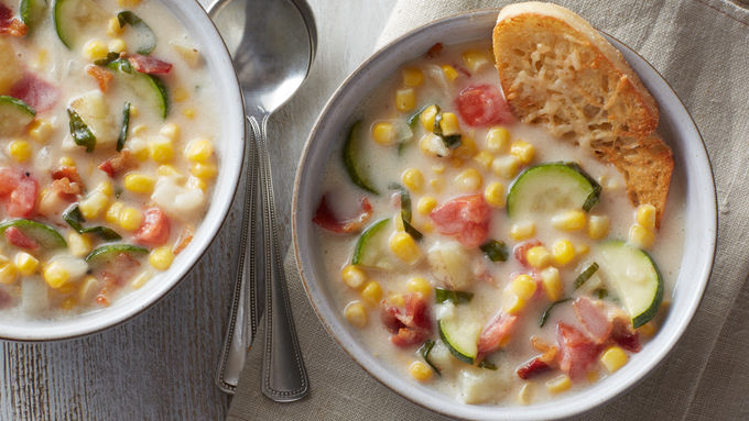 Summer Vegetable Chowder with Parmesan Croutons