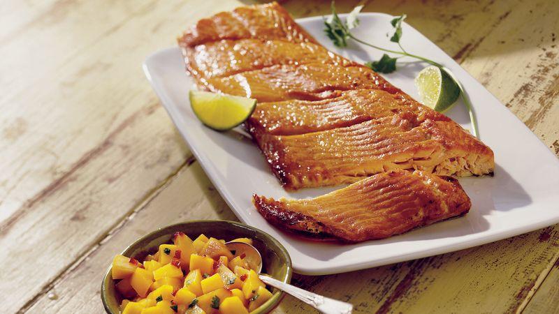 Planked Salmon with Peach-Mango Salsa