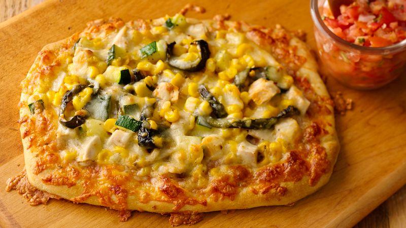 Roasted Poblano Chicken Pizzettas