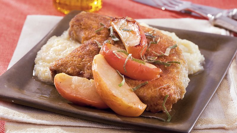 Blue Cheese Pork Chops with Apples