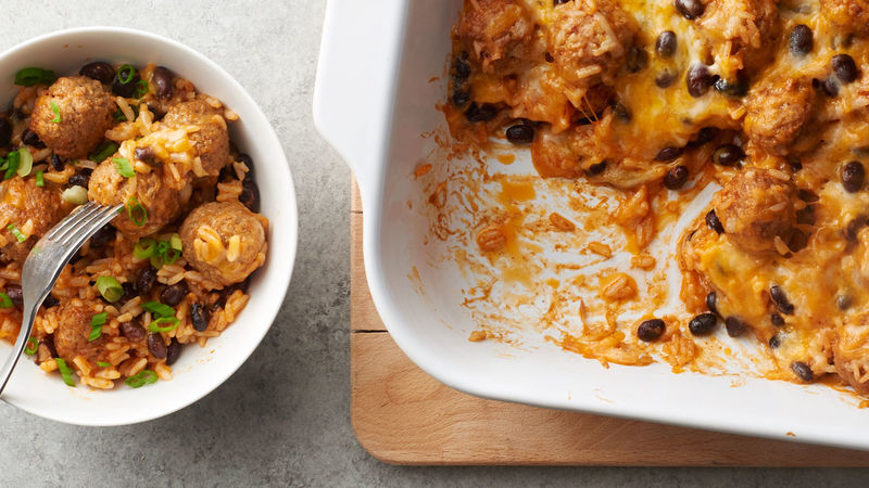 Cheesy Enchilada Meatball Casserole