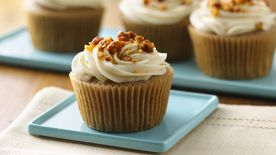 Gluten-Free Apple Spice Cupcakes with Maple Cream Cheese Frosting and Candied Walnuts