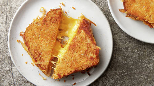 Parmesan-Crusted Grilled Cheese Sandwiches with Caramelized Onions