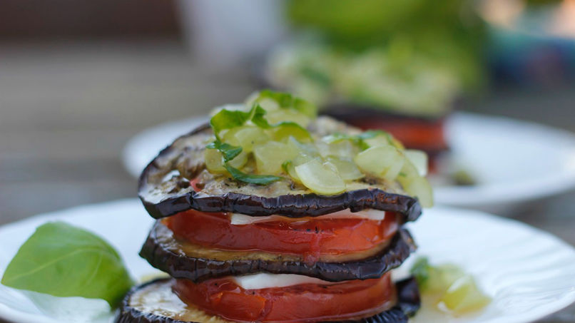 Stacked Eggplant and Mozzarella Salad