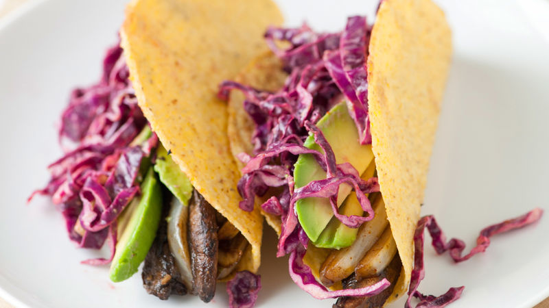 Portabella Tacos with Spicy Cabbage Slaw
