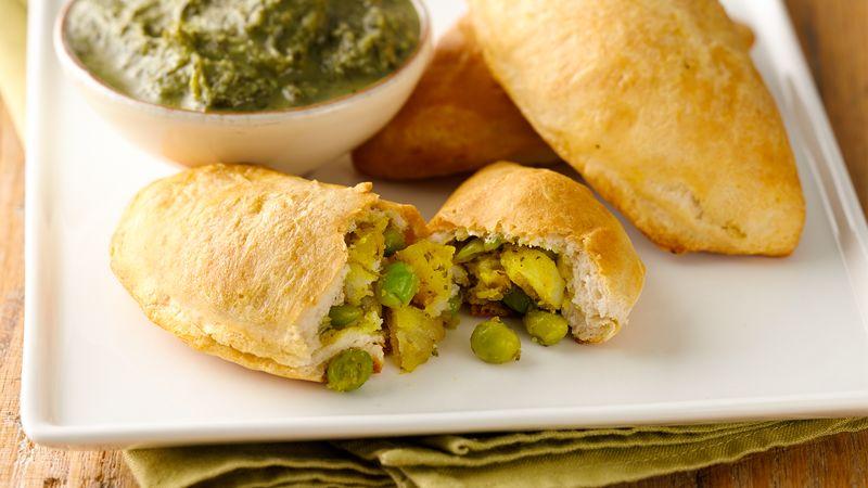 Vegetarian Samosas with Cilantro Chutney