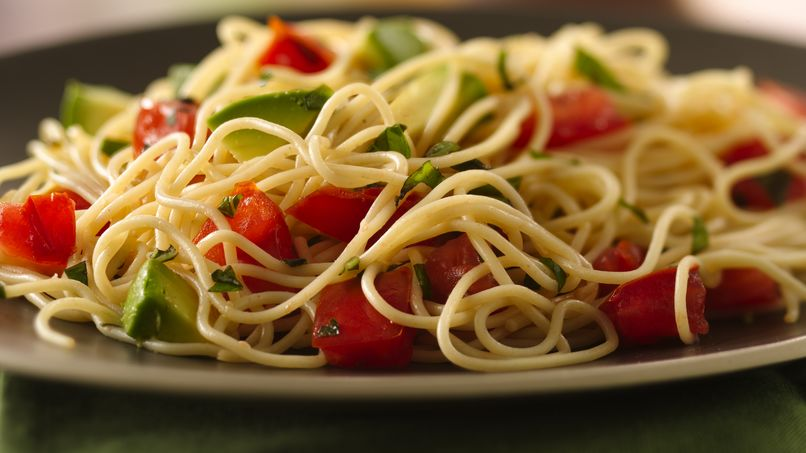 Angel Hair Pasta with Fresh Basil, Avocado and Tomatoes