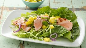 Salmon Lettuce Wraps with Mango Salsa