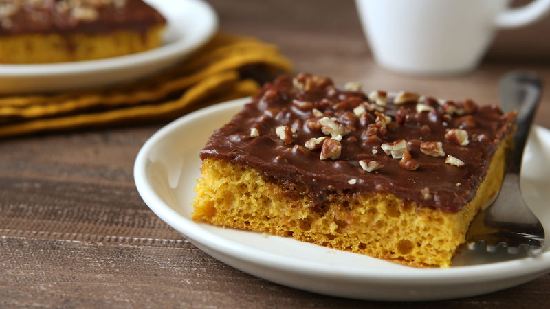 Pumpkin Sheet Cake with Chocolate Pecan Frosting