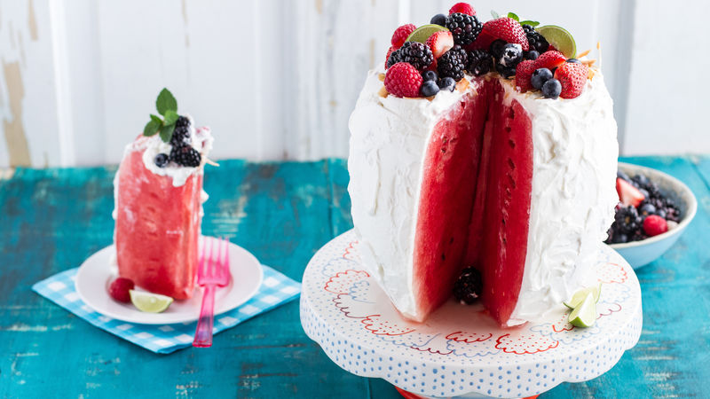 Yogurt-Frosted Watermelon Cake with Fresh Berries