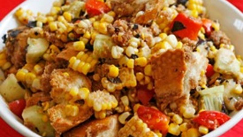 Balsamic Tomato, Corn and Cucumber Panzanella