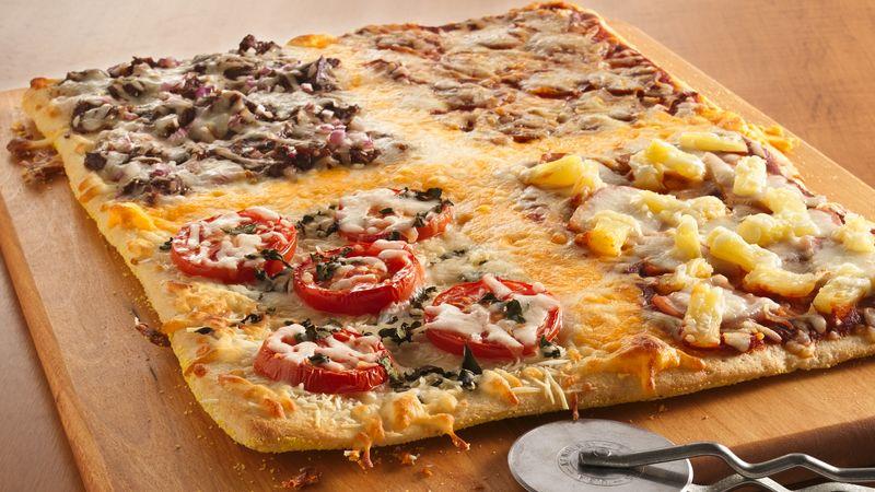 Pizza familiale à 4 carrés