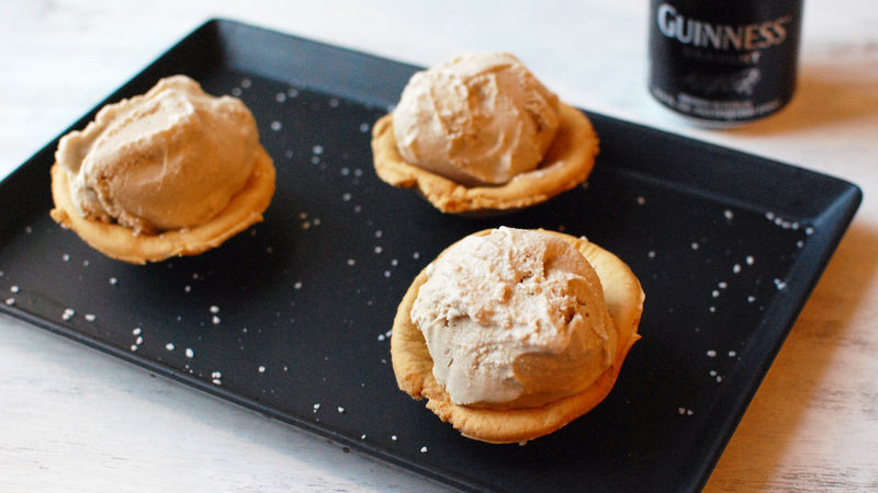 Guinness Ice Cream with Pretzel Cups