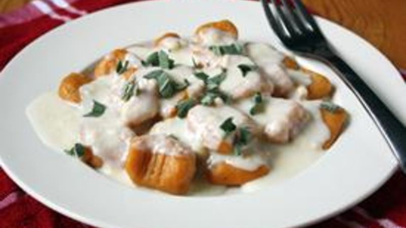 Sweet Potato Gnocchi with Smoked Gouda-Sage Sauce