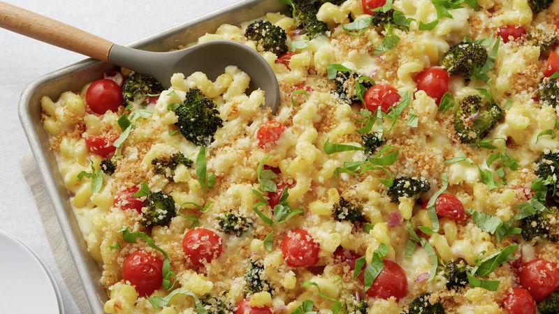 Sheet-Pan Cheesy Pasta with Roasted Broccoli