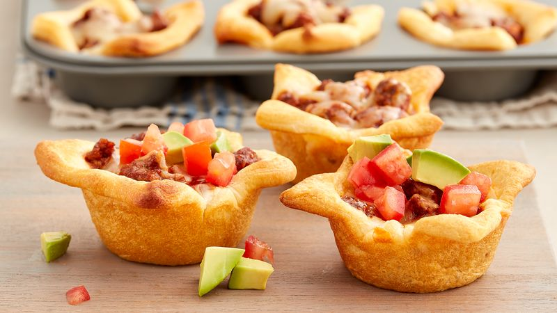 5-Ingredient Cheesy Beef Enchilada Crescent Cups