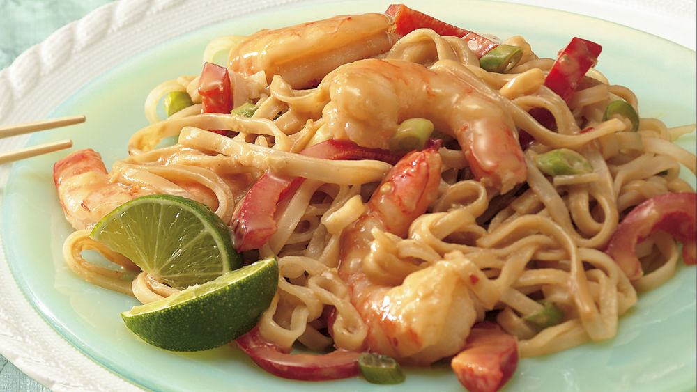 Shrimp with Thai Noodles and Peanut Sauce