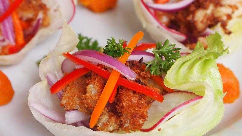 Tacos de Lechuga con Ceviche Frito