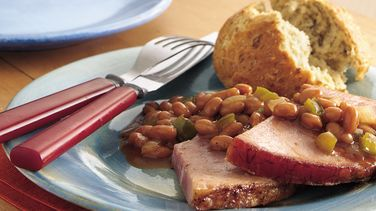 Ham Steak with Barbecued Baked Beans