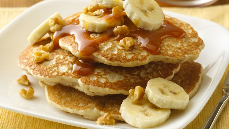 Banana Walnut Pancakes With Caramel Topping Recipe