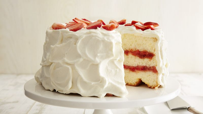 Terrific Strawberry Rhubarb Angel Cake Recipe Bettycrocker Com Personalised Birthday Cards Beptaeletsinfo