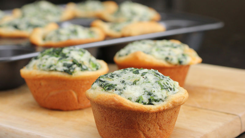 Spinach-Potato-Crescent Cups