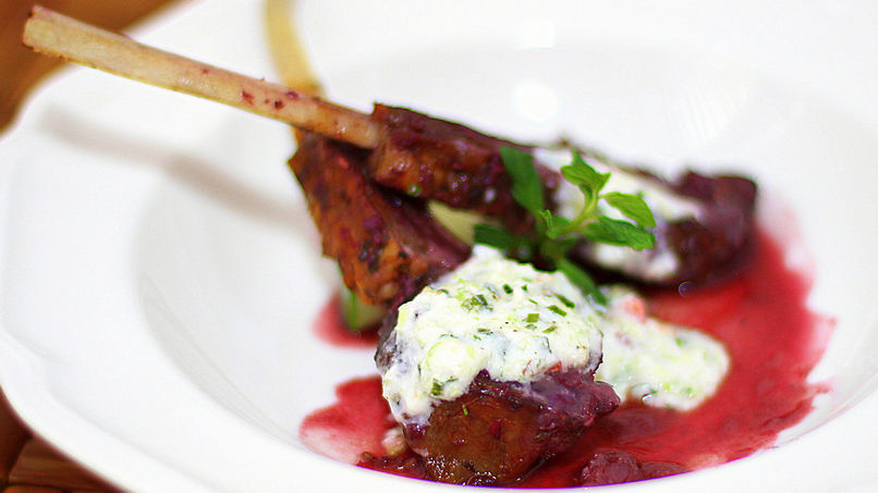 Roasted Lamb with Yogurt Raita Sauce