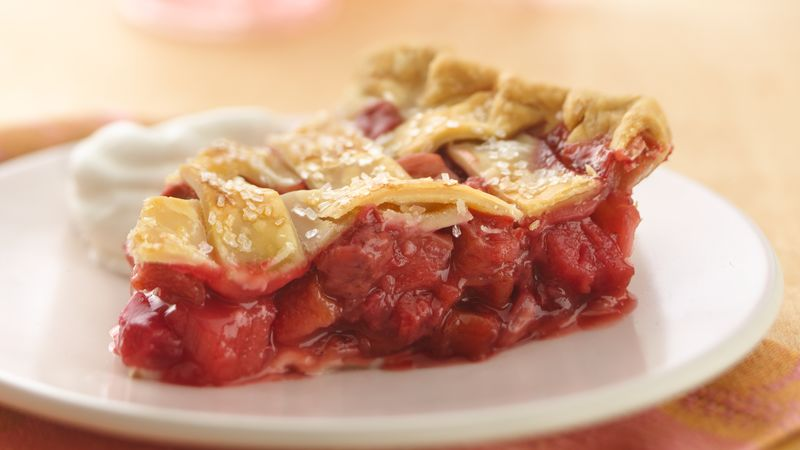 Lattice Top Strawberry Rhubarb Pie Recipe Pillsbury Com
