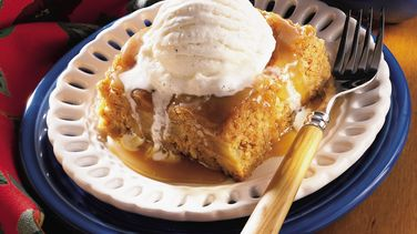 Country Apple Cake with Caramel Sauce