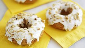 Carrot Cake Donuts with Pineapple Cream Cheese Glaze